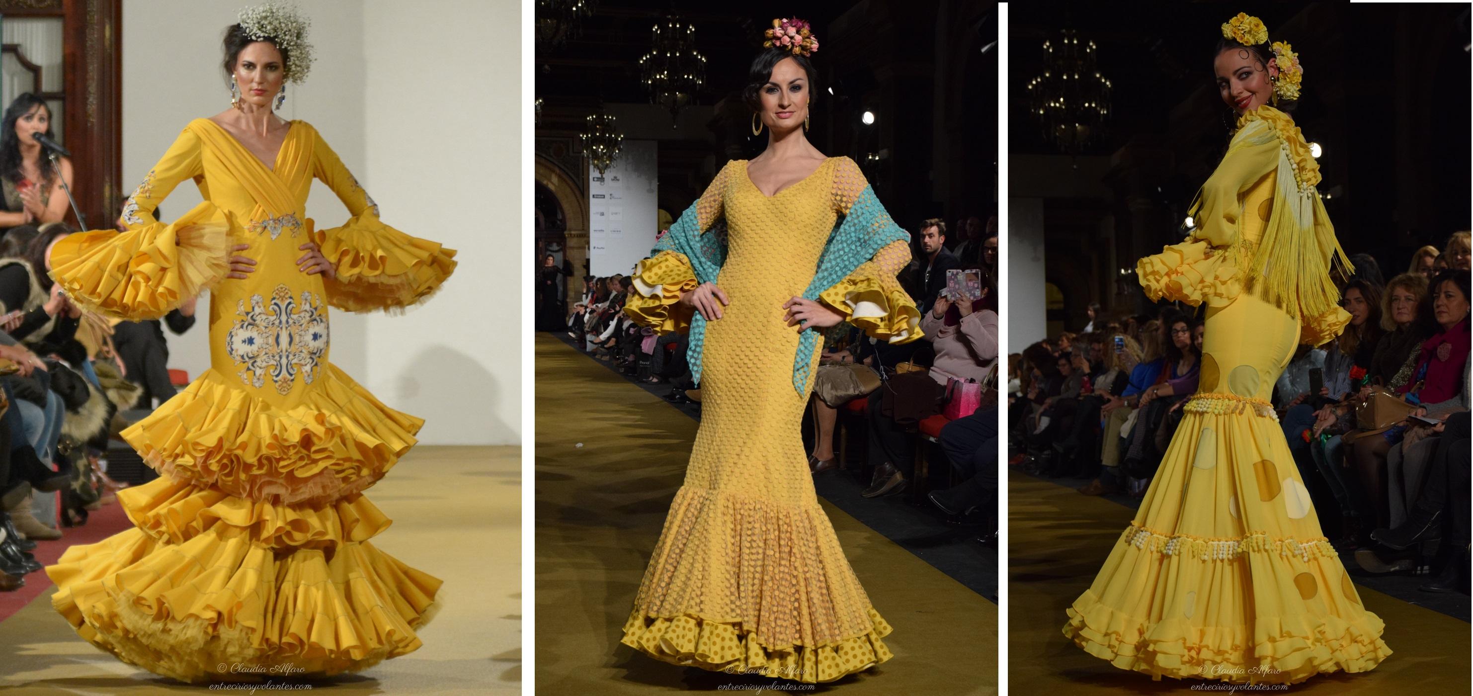 Vestido flamenca amarillo y negro
