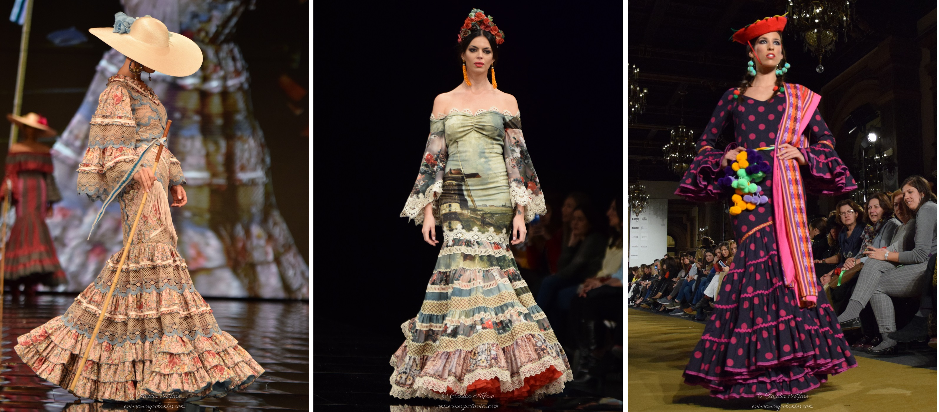 Diseños de Izq. a Dcha Loli Vera y Atelier Rima en Simof. Rocío Peralta en  We love flamenco 2017. Foto Claudia Alfaro para entreciriosyvolantes.com